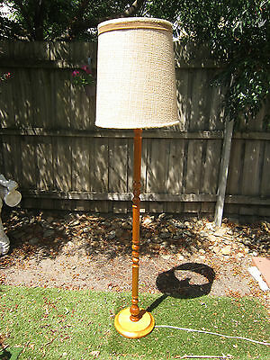 Vintage Mid Century Retro Timber Standard Floor Lamp With Shade