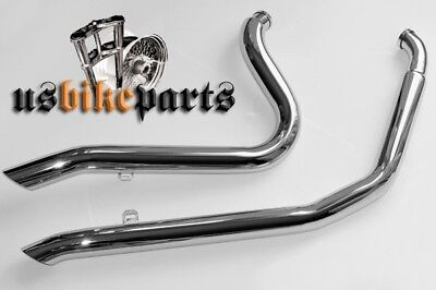 Down Cut exhaust system pipes for Harley Davidson Softail chrome custom new