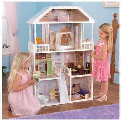 Barbie Size Dollhouse w/ Furniture Girls Playhouse Doll Play House Wooden Gift