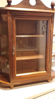 Vintage Mahogany Table Top Glass / Wood Curio Cabinet