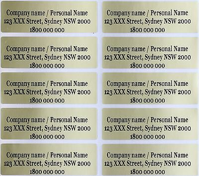 40 Gold Personalised Wedding Name Stickers Vinyl Tag Label 4.6X1.5 CM