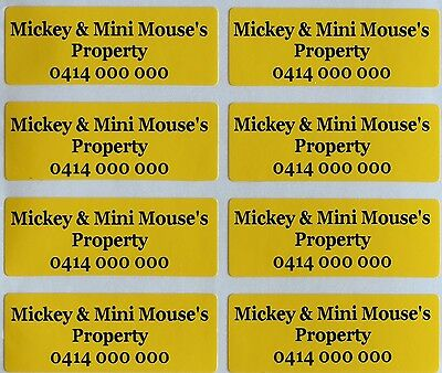 40 Yellow Customise Personalised Name Stickers PVC Tag / Label, 4.0 X 1.5 CM