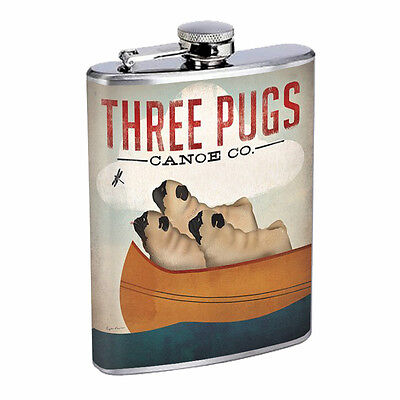 Vintage Poster D31 Flask 8oz Stainless Steel Three Pugs in a Canoe Whiskey Drink