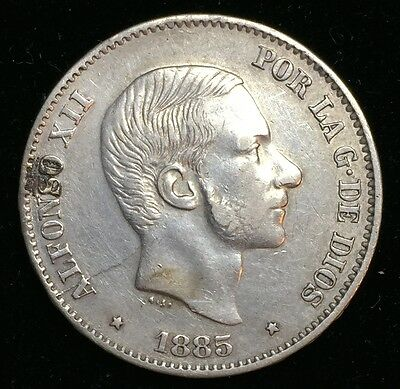 1885 Alfonso 50 centavos Spain-Philippines Silver Coin - lot 4