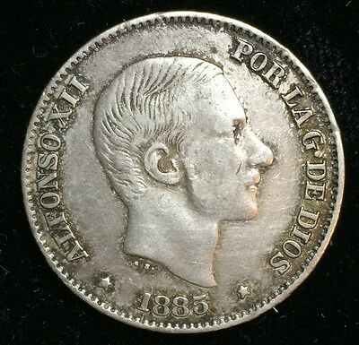 1885 Alfonso 50 centavos Spain-Philippines Silver Coin - lot 13
