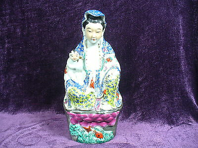 "Antique Chinese famille rose porcelain Guanyin Buddha statue 10.25""  粉彩送子观音"