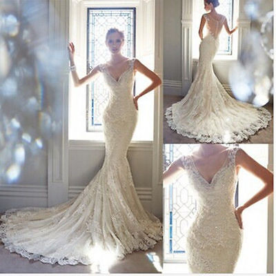 Mermaid White/Ivory Lace Wedding Dress Bridal Gown Custom Size 6 8 10 12 14 16++