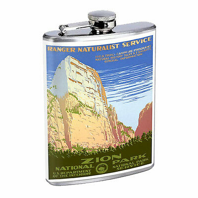 Vintage Poster D49 Flask 8oz Stainless Steel 1930s Vintage Zion National Park Ad