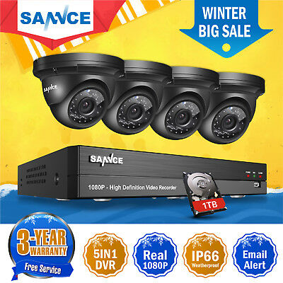 SANNCE 4CH 1080P DVR 2.0MP CCTV Outdoor Night View Security Camera System Kit 1T
