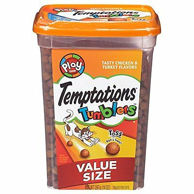 TEMPTATIONS TUMBLERS Treats For Cats Tasty Chicken & Turkey Flavors 14 Ounces P