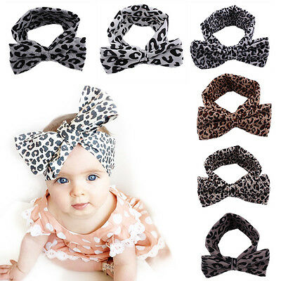 Baby Kids Girls Leopard Print Floral Bow Knot Headband Elastic Stretch Hair Band
