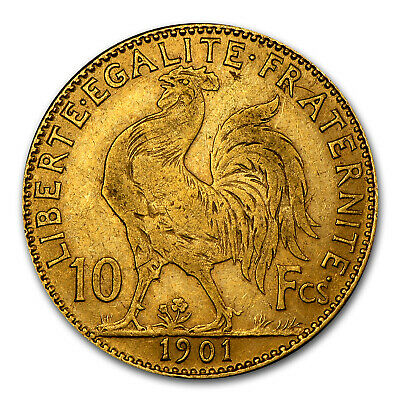 1899-1914 France Gold 10 Francs Rooster Avg Circ - SKU #25990