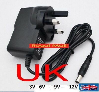 UK Plug AC 100-240V DC 12V 9V 6V 3V 1A Switching Power Supply Adapter 2.1MM