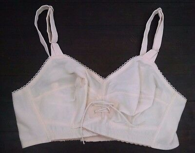 New Vintage Bullet Bra Maybra Custom Fitted 32B+ Beige Decorative Corset Lace-up