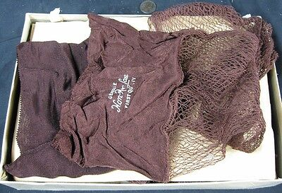 6 Pair of Antique 1930's-40's Seamed Fish Net Stockings Genuine Non-Rur Lace