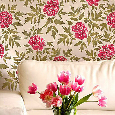 Japanese Peonies Floral Pattern Stencil - Reusable Stencils for DIY Home Decor