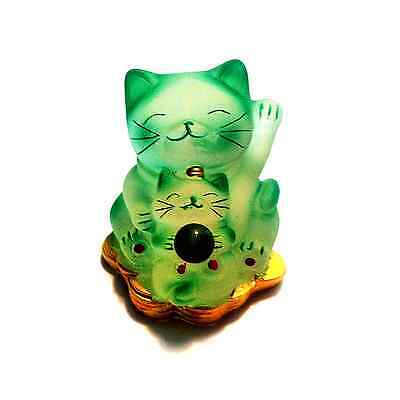 Maneki Neko Spray Painted  Lucky Cats Green color -Fast Shipping from IL USA
