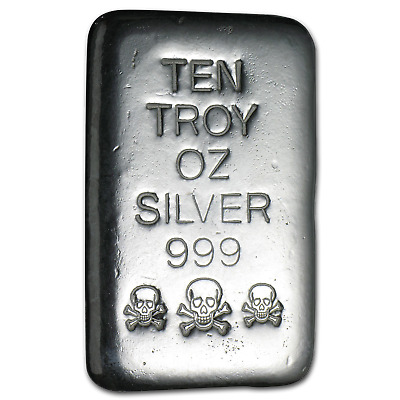 10 oz Silver Bar - Atlantis Mint (Skull & Bones) - SKU #82453