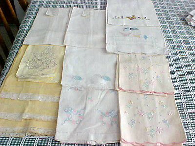 Vintage Hand Towels Cotton Huck Linen Lace Embroidery Lot of Twelve~Yellow/White