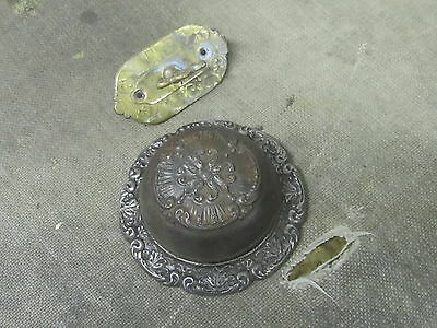 1880s CAST IRON FANCY ORNATE VICTORIAN DOOR BELL WITH BRASS TWIST COMPLETE
