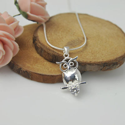 Love 925 Sterling Silver Plated Fashion Women Owl Pendant Necklace Chain Jewelry