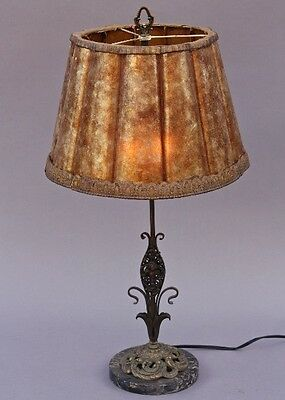 1920s Table Lamp Fluted Mica Shade Marble Base Antique Vintage Lighting (8860)