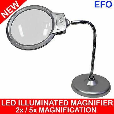 2 LED DESKTOP MAGNIFIER GLASS 2x/5x 130mm MAGNIFICATION LENS LED LAMP METAL HOSE