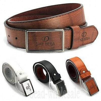 Men's Casual Waistband Leather Automatic Buckle Belt Waist Strap Belts ROS