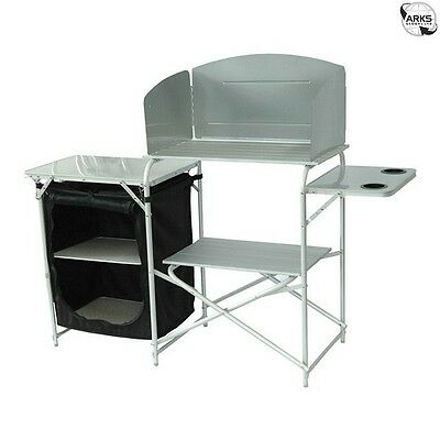 ROYAL Aluminium Camping Kitchen Stand with Windshield and Larder - 359977