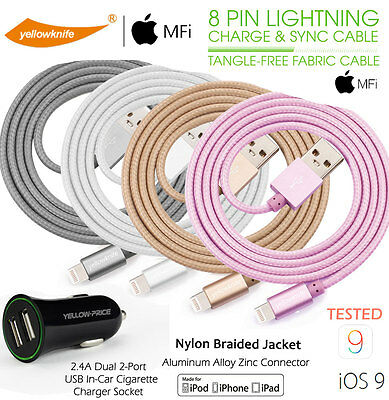 iPhone 6S 5S Charger Nylon Braided Lightning to USB Cable [Apple MFi Certified]