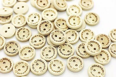 Handmade with love Wooden Button Beige Natural Wood Heart Bowl Shape 15mm 20pcs
