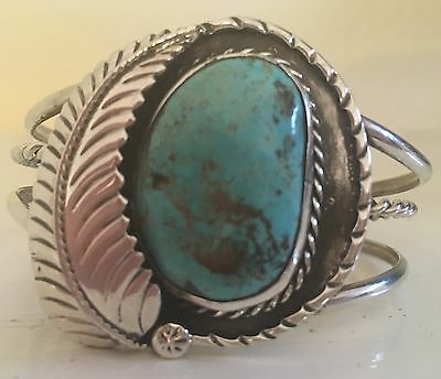 Gorgeous Tall Vintage Navajo Turquoise & Sterling Silver Cuff Bracelet 41 Grams
