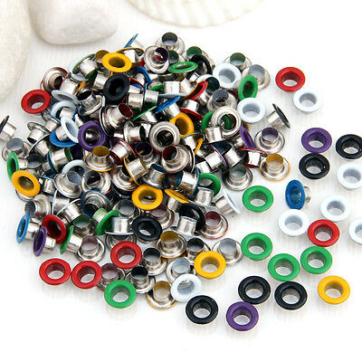 200pcs Multicolor Metal Eyelet Grommet for Leather Craft Shoes Belt Bag DIY