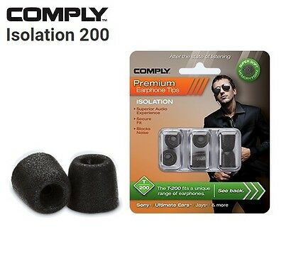Comply Foam T-200 Isolation 3 Pairs In-Ear Earphone Tips Medium Black MP