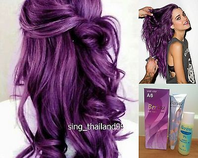 1X Berina A6 Violet Purple Color Hair Cream Color Permanent Super Hair Dye
