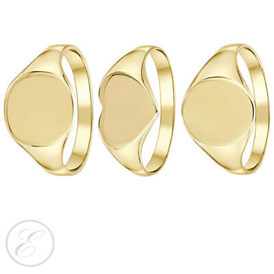 Ladies Signet Ring 9ct Yellow Gold Heart / Cushion / Oval Shaped
