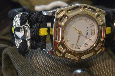 Custom 101st Screaming Eagle Airborne Goldtone Paracord Watch Stainless Shackle