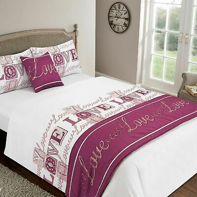 Dreamscene Love Complete Duvet Cover with Pillowcases Bed in a Bag Set Raspberry