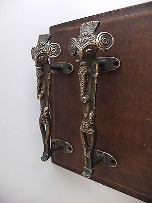 Vintage Antique Style Elephant Solid Brass Pair Of Door Handles Pulls