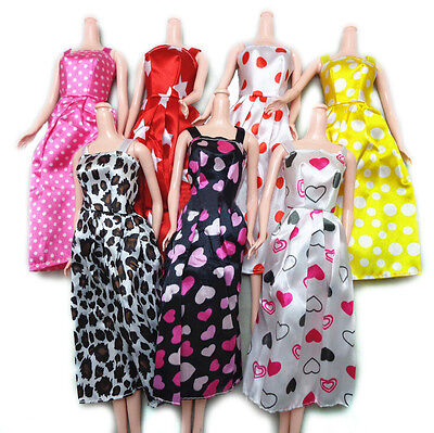7 Pcs Handmade Fashion Dress for Barbies Printed Doll Dress Baby Birthday R15