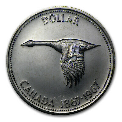 1967 Canadian Silver Dollar Flying Goose Coin - Uncirculated and/or Proof