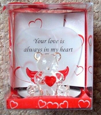 MOTHERS DAY / VALENTINES GLASS BEAR PLAQUE  Your love is always in my heart