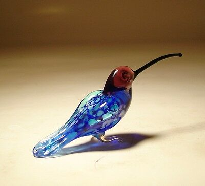 Blown Glass Figurine Art Bird Small Blue HUMMINGBIRD