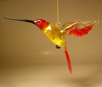 Blown Glass Figurine Bird Hanging Red and Clear HUMMINGBIRD Ornament