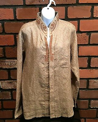 Men's Mebaz Sz 42 Large Brown Beige Embroidered L/S Shirt Ethnic Clothing Party