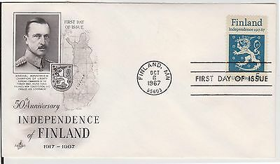 (USP-283) 1967 Finland FDC 5c independence (C)
