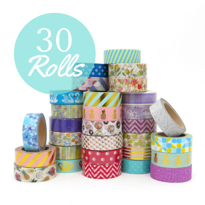 Washi Tape Set Bulk Lot 30x10m Mixed Patterns Bundle