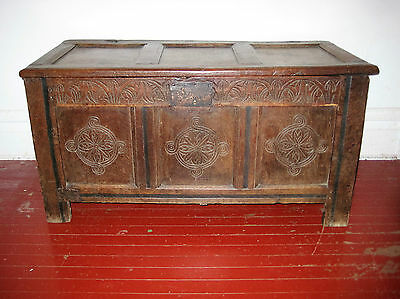 American Pilgrim Century Runic Design Carved Oak Paneled Lid Chest Circa 1660
