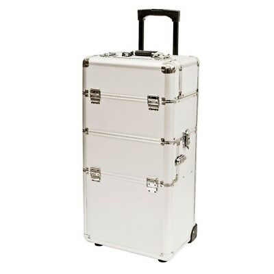 2in1 Portable Aluminium Rolling Cosmetic Makeup Trolley Beauty Hair Case 96.5cm