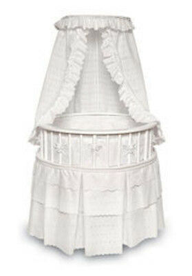 Badger Basket White Elegance Round Baby Bassinet w/White Eyelet Bedding 00827